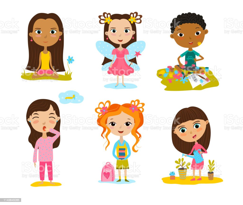Happy kids cartoon collection. Multicultural children in different...