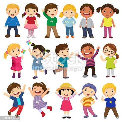 istock Happy kids cartoon collection. Multicultural children in different positions isolated on white background 916390010