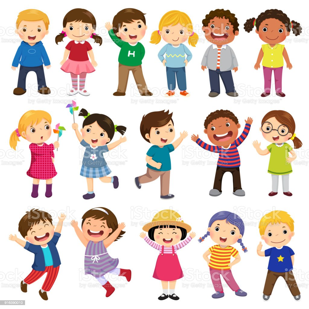 Happy kids cartoon collection. Multicultural children in different positions isolated on white background - illustrazione arte vettoriale