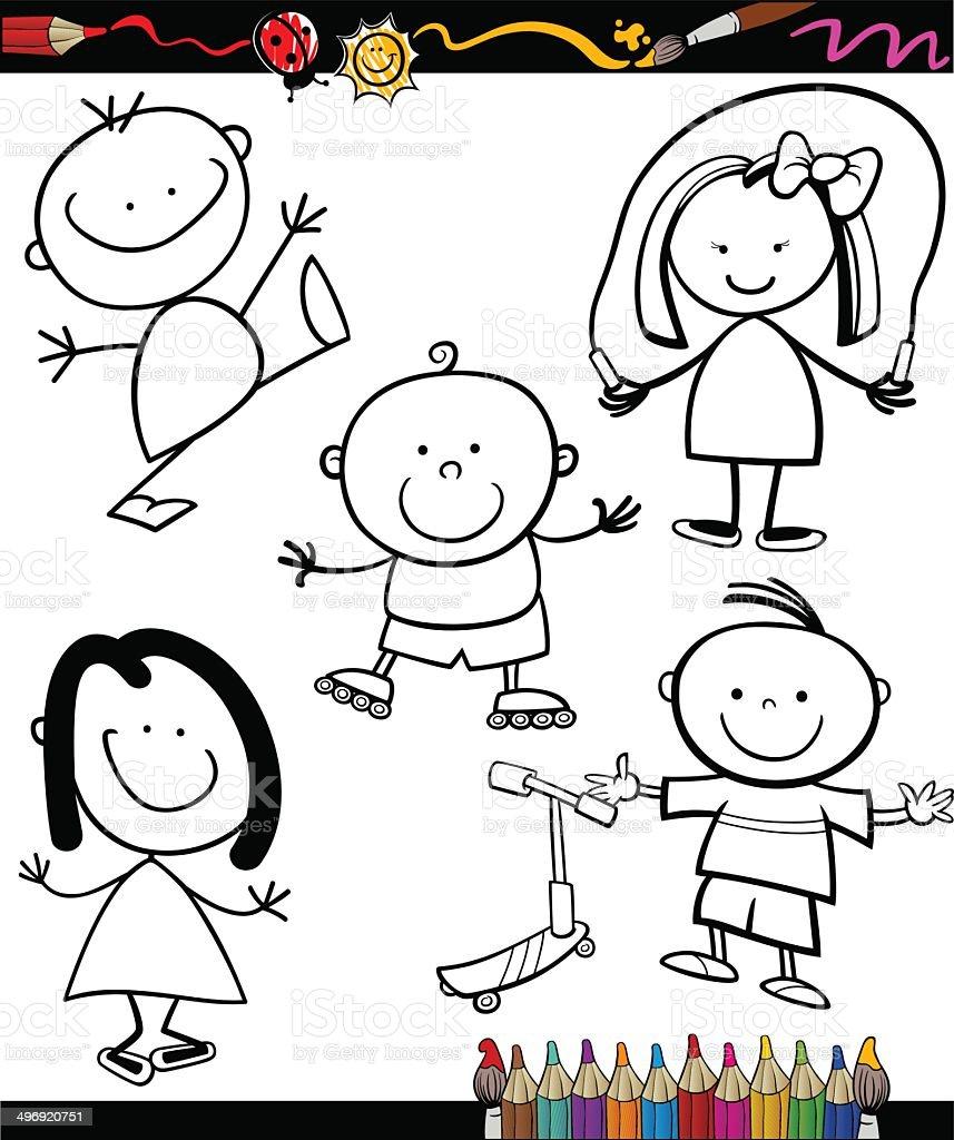 Enfants Heureux En Dessin Anime Livre De Coloriage Cliparts