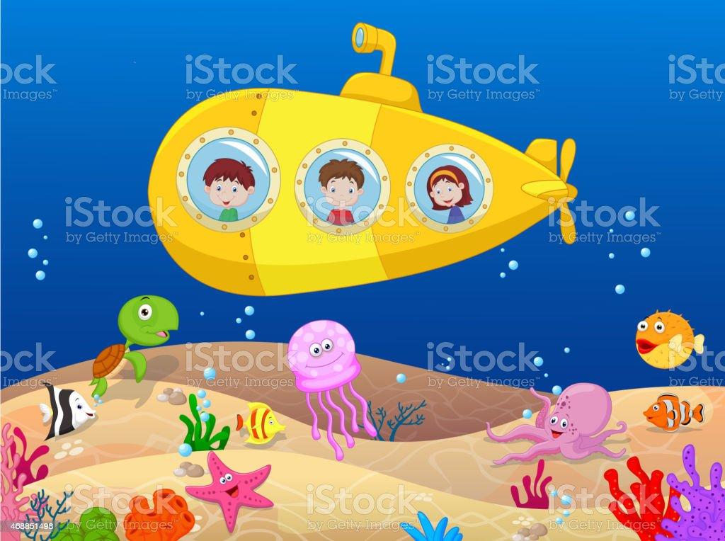 Happy kids cartoon in submarine vector art illustration