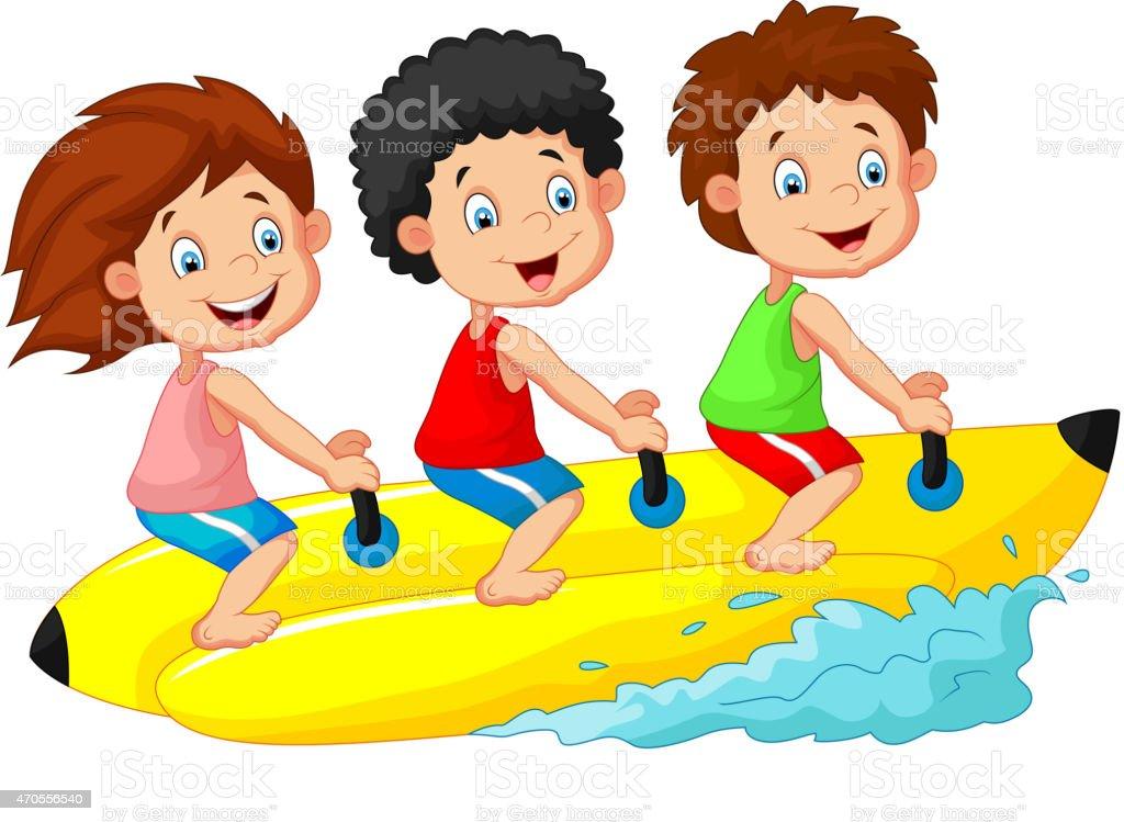 Happy kids cartoon riding a banana boat vector art illustration