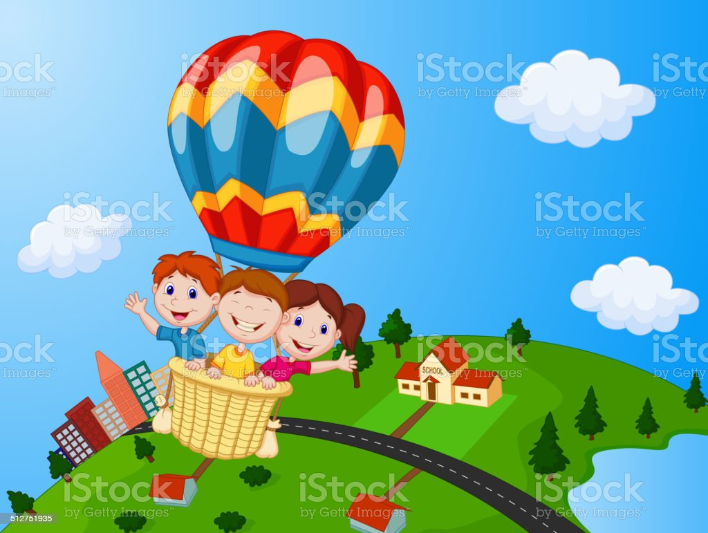Image result for hot air balloon with kids
