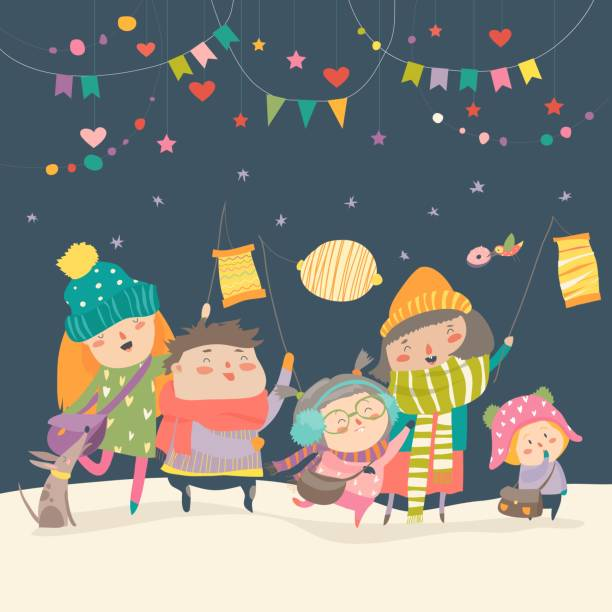 Happy kids celebrating Saint Martins day Happy kids celebrating Saint Martins day. Vector greeting card lantern stock illustrations