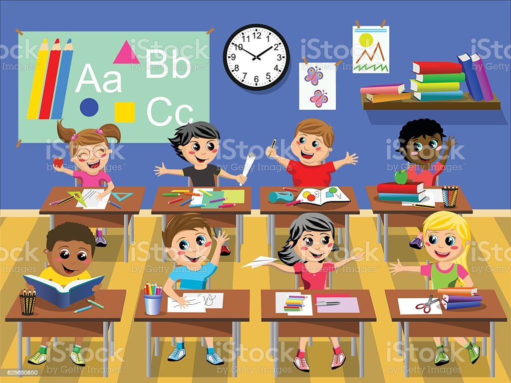 Children Reading Stock Vector Art More Images Of Baby: Happy Kids Children Sitting Desk Classroom School Stock