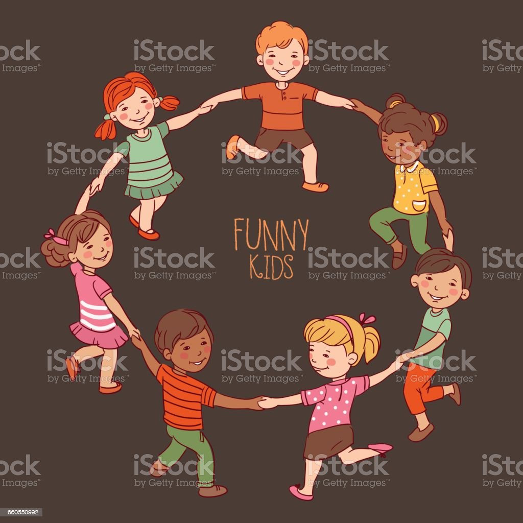 Happy kids dancing in a circle. Cute boys and girls having fun vector art illustration