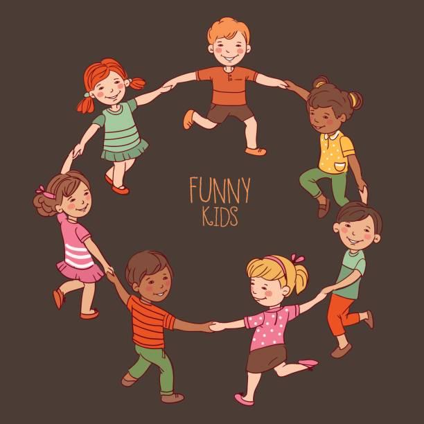 Happy kids dancing in a circle. Cute boys and girls having fun vector art illustration