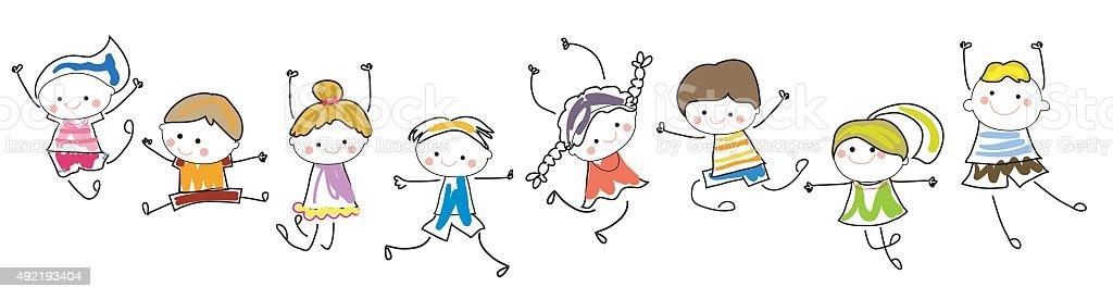 Glückliche Kinder Tanzen Und Springen Stock Vektor Art und mehr ...