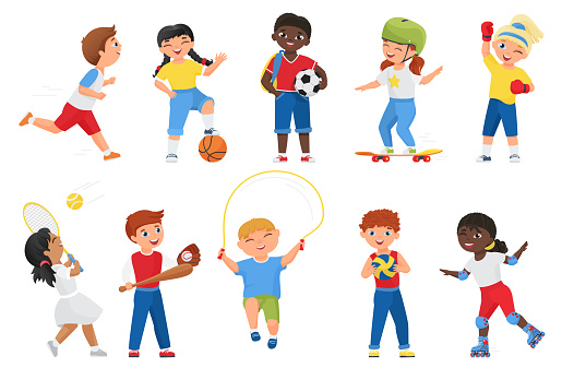 Happy kids do sports exercises, sportive boy girl children run jump and play games