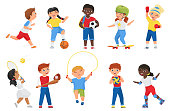 istock Happy kids do sports exercises, sportive boy girl children run jump and play games 1303411116
