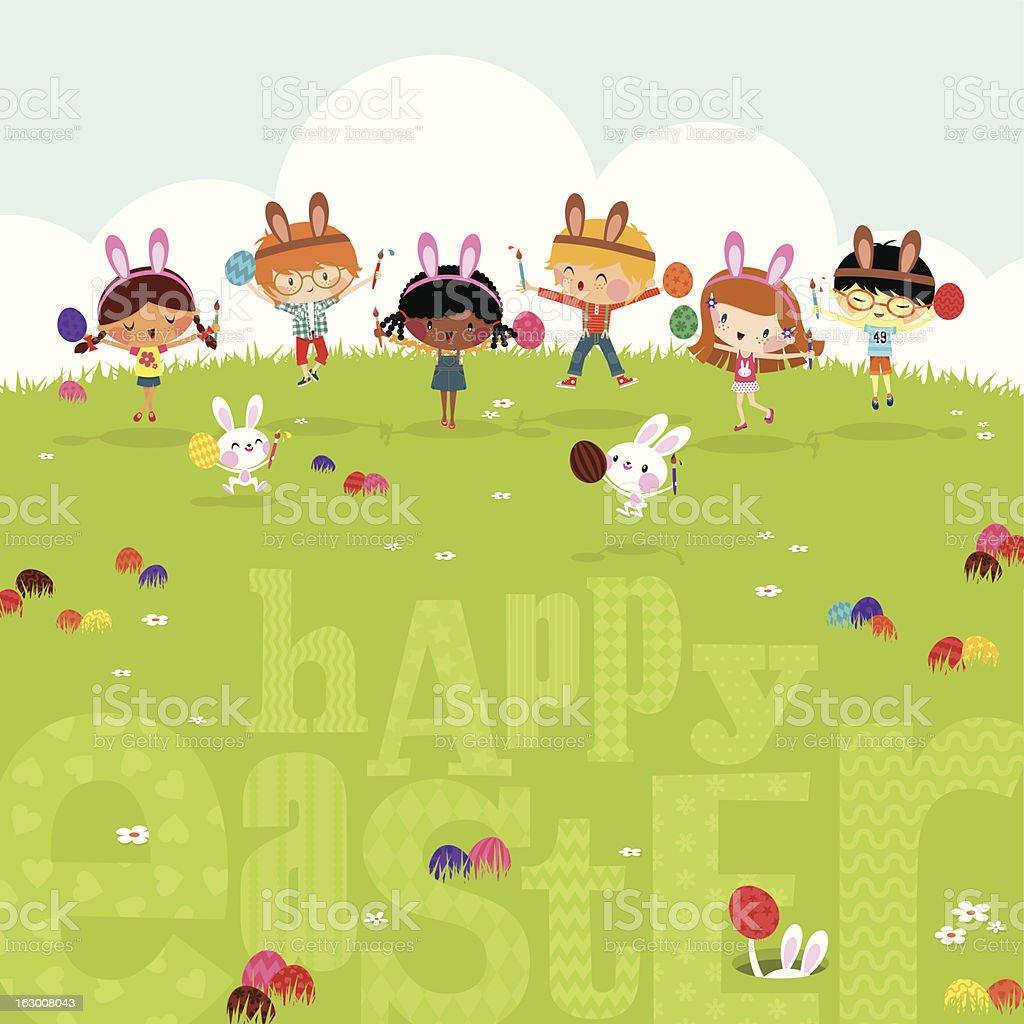 Happy kids easter eggs play bunny cute illustration vector myillo vector art illustration