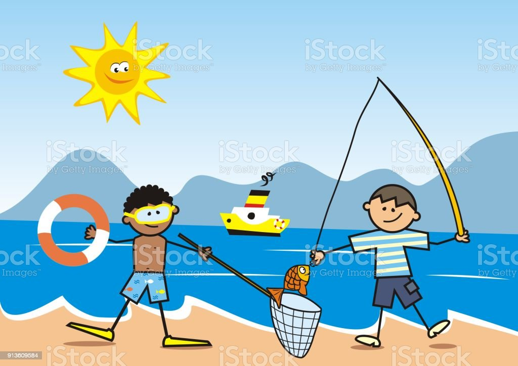 Happy kids, fisherman on the beach vector art illustration