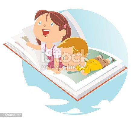 istock Happy kids flying on big open book 1136555072