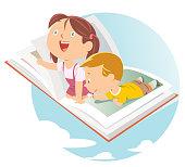 Vector happy kids flying on big open book