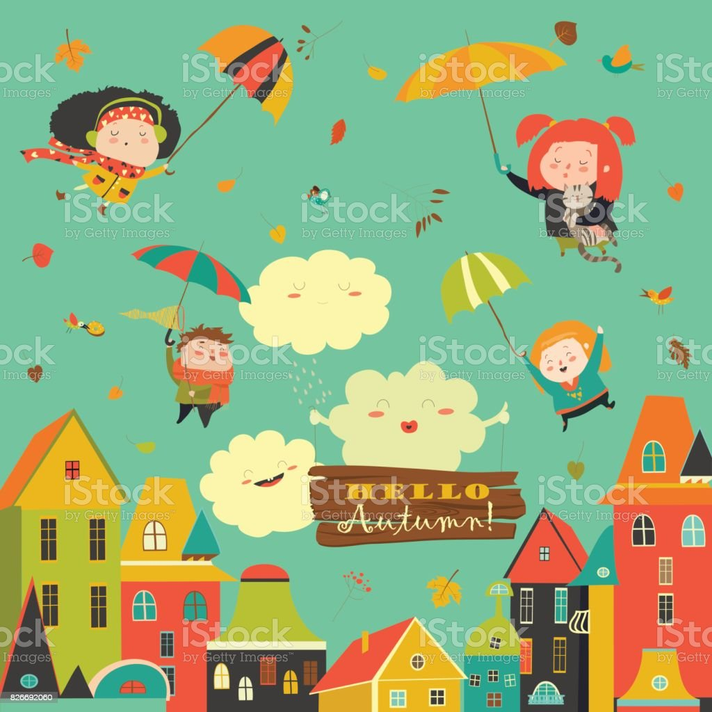 Happy kids flying with umbrellas under the city vector art illustration