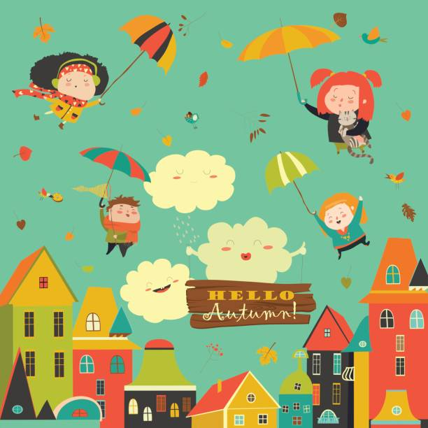 happy kids flying with umbrellas under the city - kids playing in rain stock illustrations, clip art, cartoons, & icons