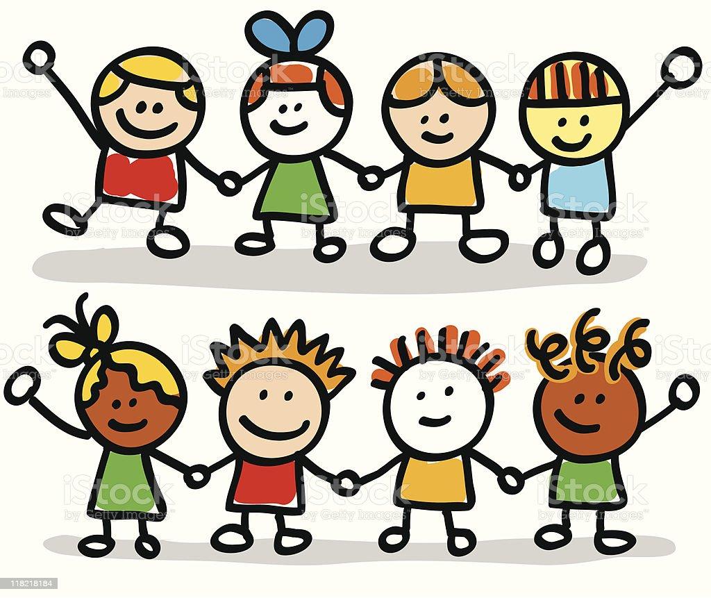 happy kids friend group holding hands cartoon illustration  Boys stock vector