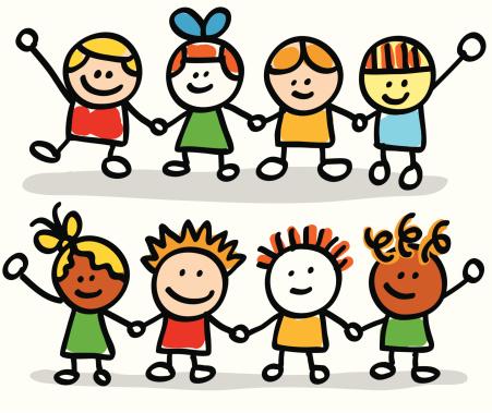 Happy Kids Friend Group Holding Hands Cartoon Illustration Stock Illustration - Download Image Now