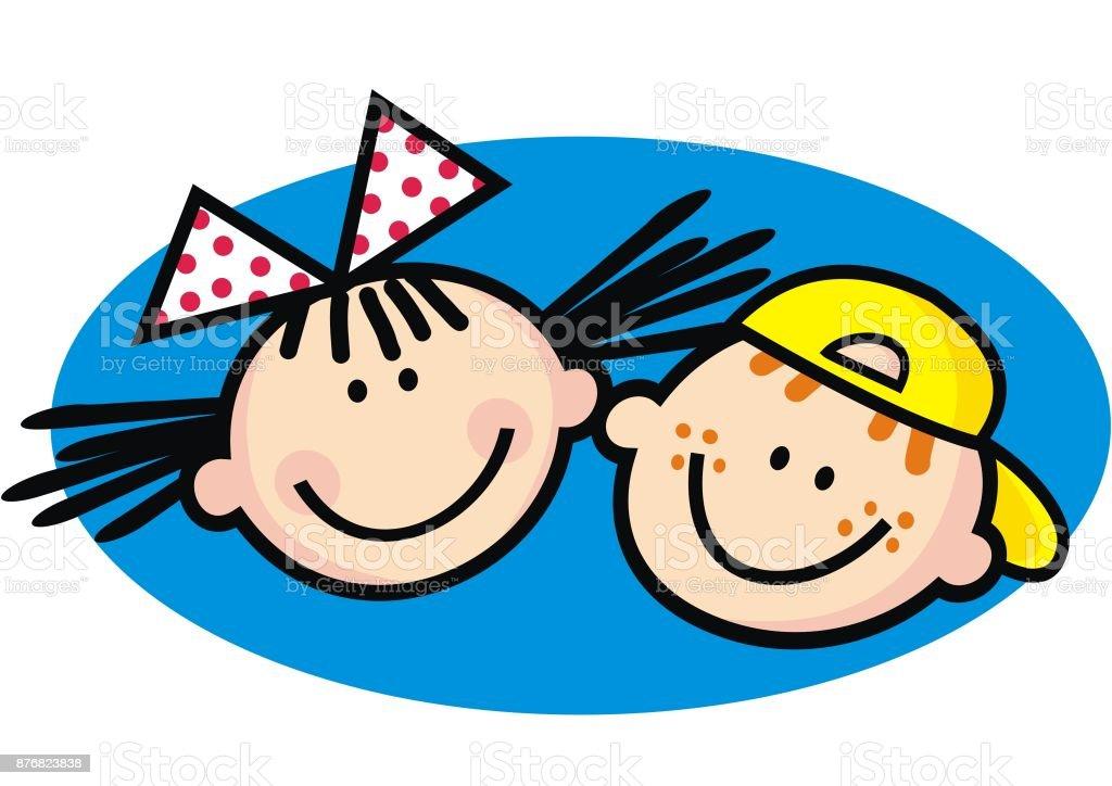 Happy kids, girl and boy vector art illustration