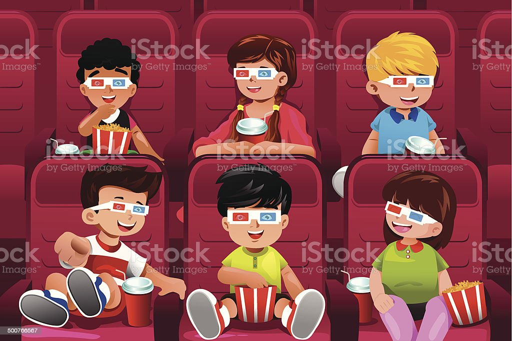Happy kids going to a movie vector art illustration