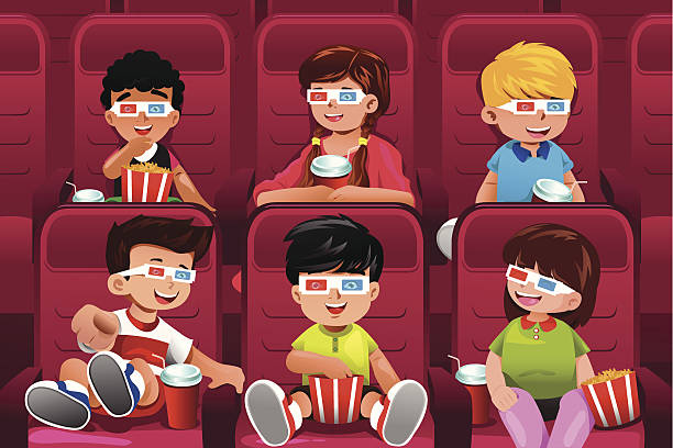 Grade Schooler Images, Stock Photos & Vectors | Shutterstock |Kids Watching Movie Clipart