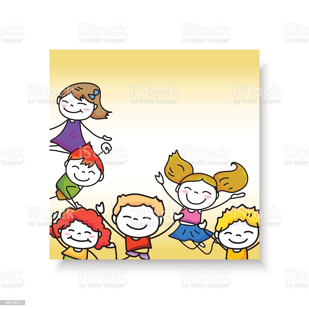幸せな子供ハンド描画カットイラストのキャラクターのジャンプの少年と
