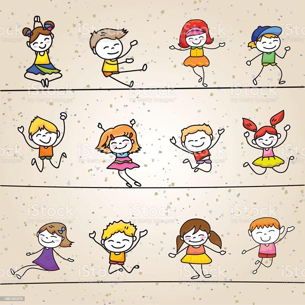 幸せな子供ハンド描画カットイラストのキャラクター