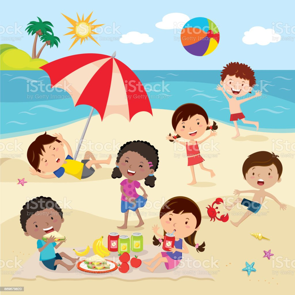Happy Kids Having Fun On The Beach Stock Illustration ...