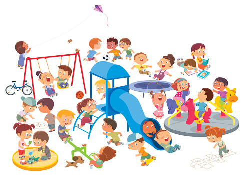 Happy kids having fun on the playground