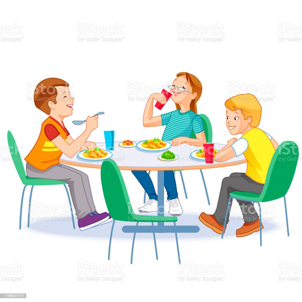 Happy Kids Having Lunch By Themselves Two Boys And Girl Eating Meals At Table Child Nutrition Concept Stock Illustration Download Image Now Istock