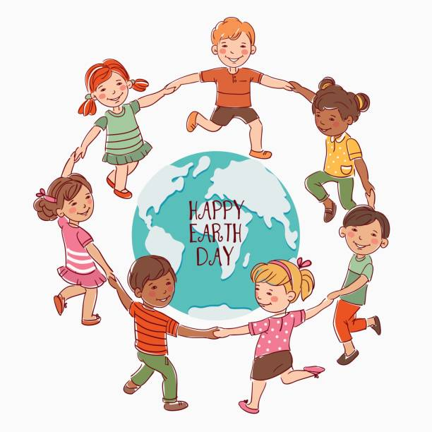 Happy kids holding hands and dancing around the world vector art illustration
