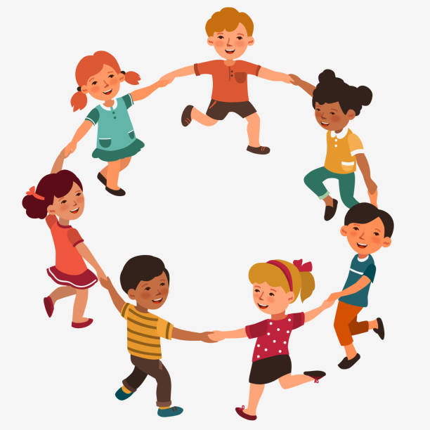 Happy kids holding hands and dancing in a circle. Cute boys and girls having fun. Cartoon outline style vector art illustration