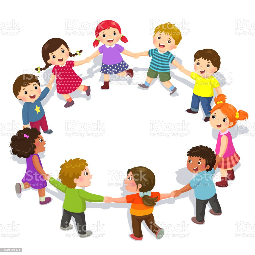 Happy Kids Holding Hands In A Circle Cute Boys And Girls Having Fun