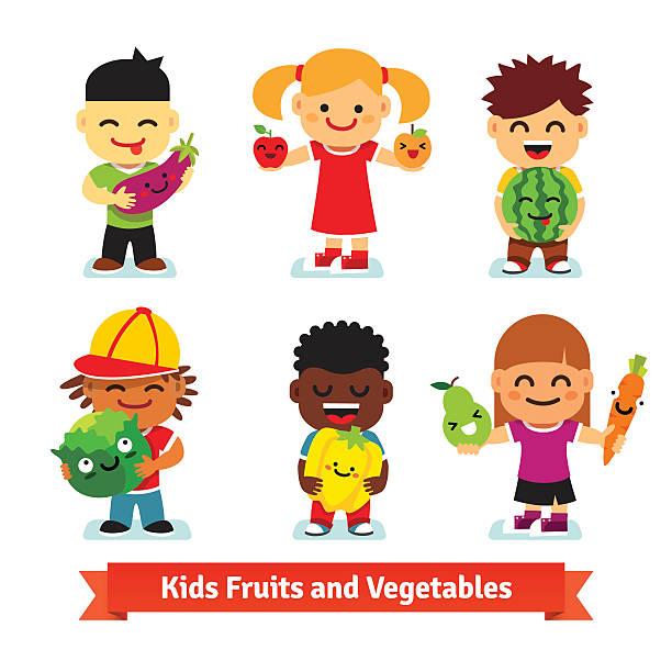 illustrazioni stock, clip art, cartoni animati e icone di tendenza di bambini felici con sorridente frutta e verdura - pesche bambino