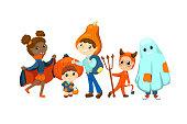 Happy kids in Halloween costume vector illustration on white background. Children friends dressed for Halloween party. Multiracial kids in pumpkin head, vampire, devil, ghost wear. Halloween carnival