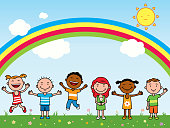 Illustration of happy kids in the garden with rainbow and sun in the sky.