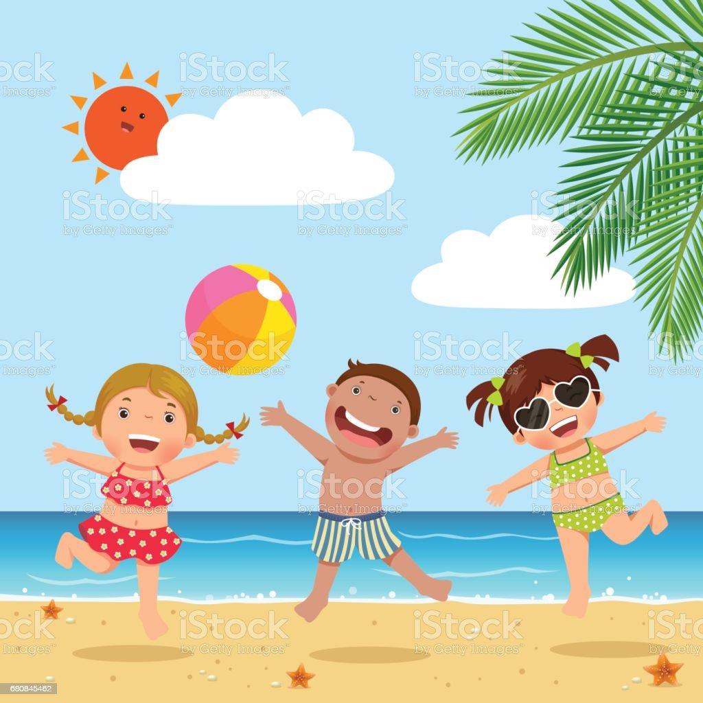 Happy kids jumping on the beach - ilustração de arte em vetor