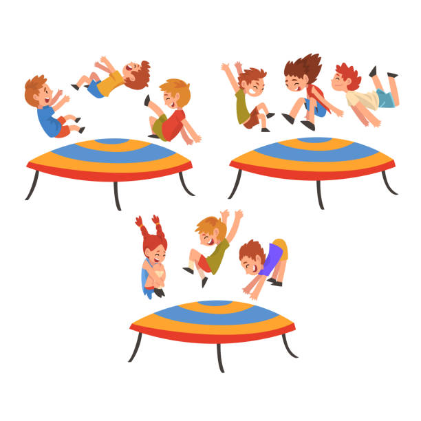 Kids Jumping On Trampoline Free Vector Art - (13 Free Downloads)