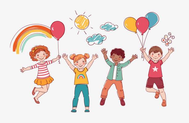 illustrations, cliparts, dessins animés et icônes de gosses heureux sautant au-dessus du fond blanc. concept de bonheur, d'enfance et de liberté - nuage 6