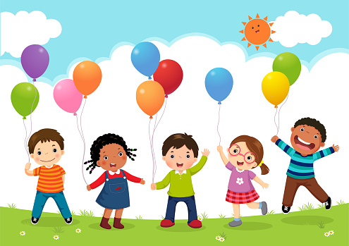 Happy kids jumping together and holding balloons clipart