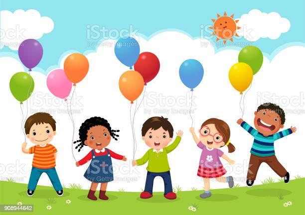 Happy kids jumping together and holding balloons vector id908944642?b=1&k=6&m=908944642&s=612x612&h=ipsy8j32 7fvhmksu6nbeddrxdcahuopkjbq4ir8q9a=
