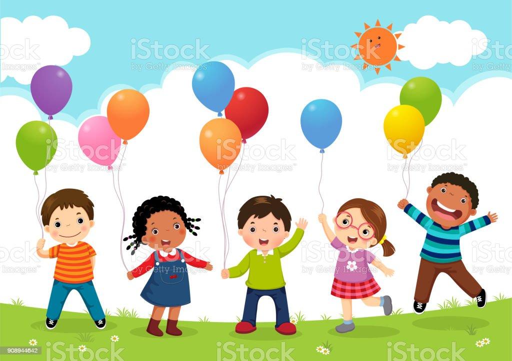 Crianças felizes pulando juntos e segurando balões - ilustração de arte em vetor