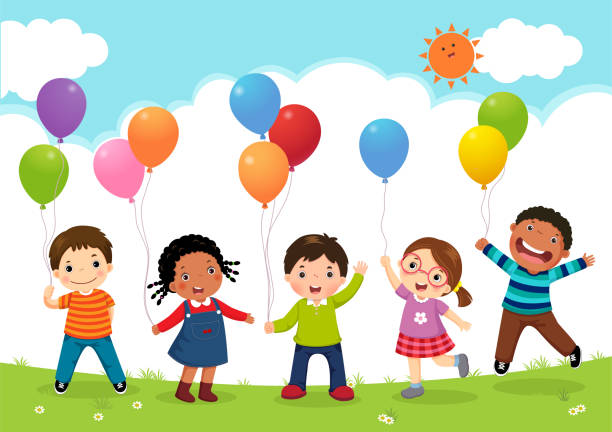 happy kids jumping together and holding balloons - children stock illustrations, clip art, cartoons, & icons