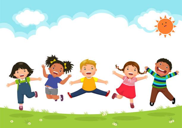 glückliche kinder springen zusammen an einem sonnigen tag - kind stock-grafiken, -clipart, -cartoons und -symbole