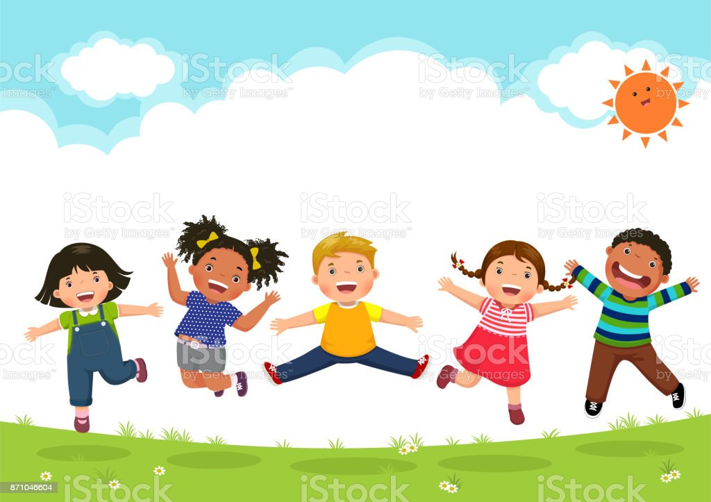 Happy kids jumping together during a sunny day - illustrazione arte vettoriale