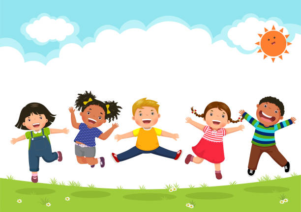 happy kids jumping together during a sunny day - cartoon kids stock illustrations, clip art, cartoons, & icons