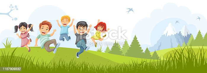 istock Happy kids jumping together. 1157909332
