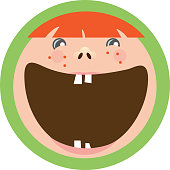 Happy kids label icon