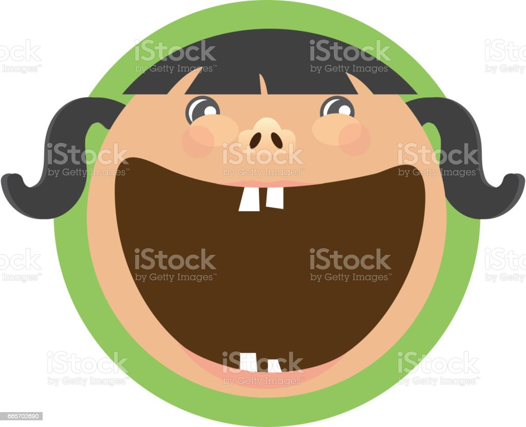 Happy kids label icon vector art illustration