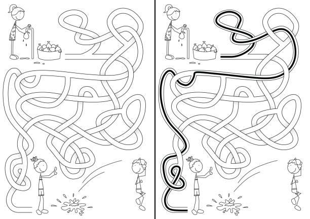 Crianças felizes labirinto - ilustração de arte em vetor